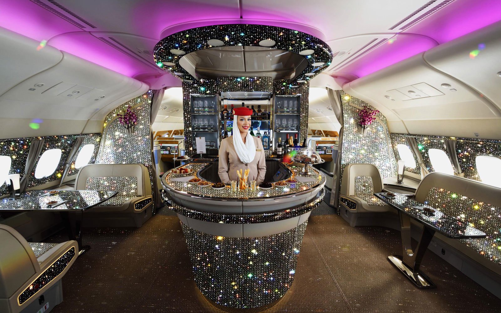 This is what Emirates' onboard bar would look like covered in 500,000 crystals