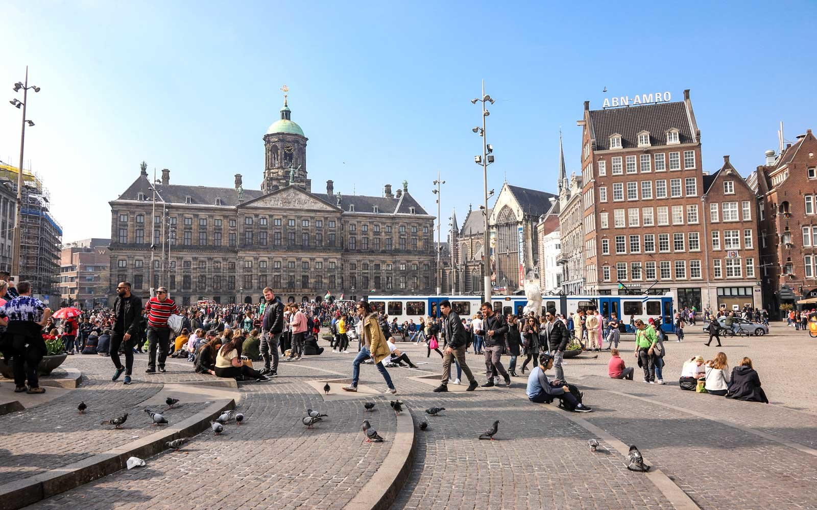 Dam Square in Amsterdam, a town square in the Dutch capital