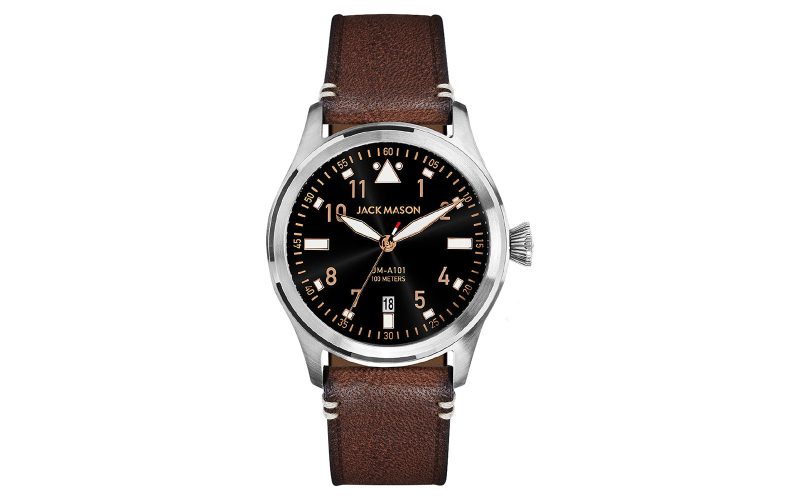 Aviation Leather Strap Watch JACK MASON