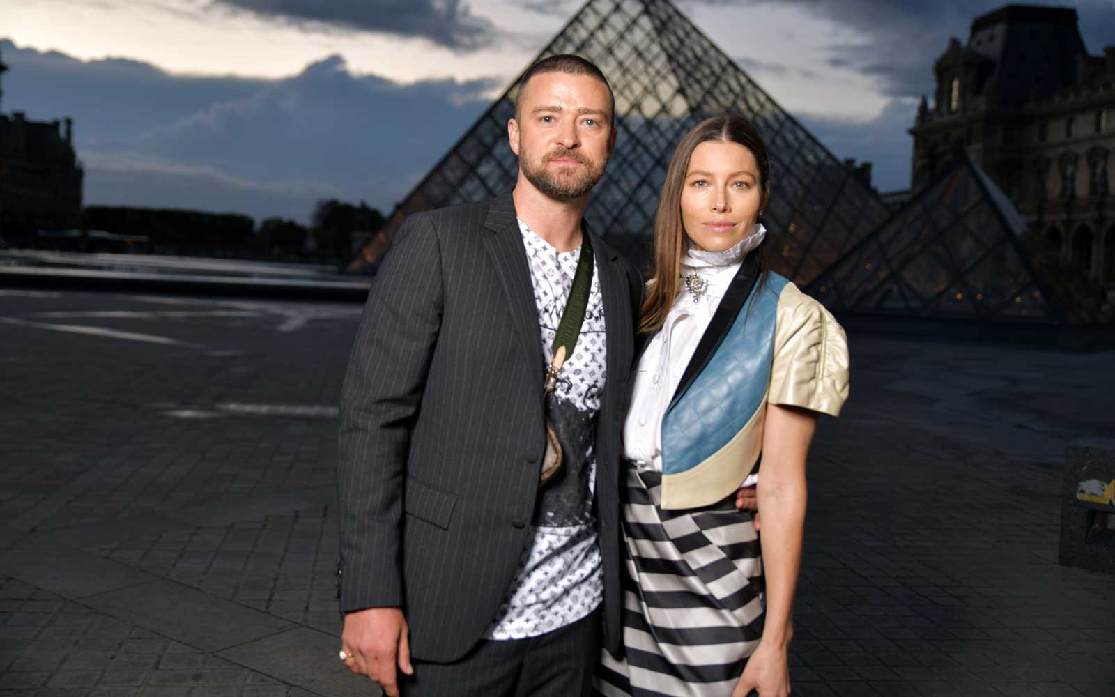 Justin Timberlake and Jessica Biel in the front row Louis Vuitton show, Front Row, Spring Summer 2020