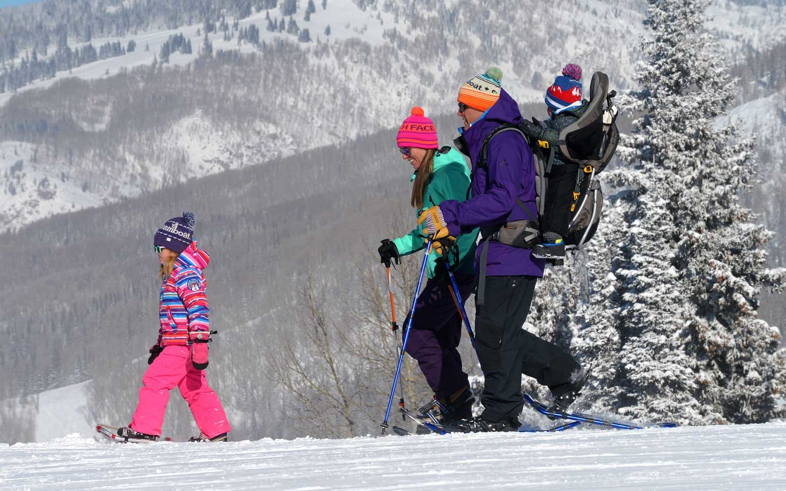 Family snowshoe trip at Steamboat