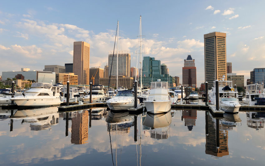 boats in the harbor in Baltimore, Maryland