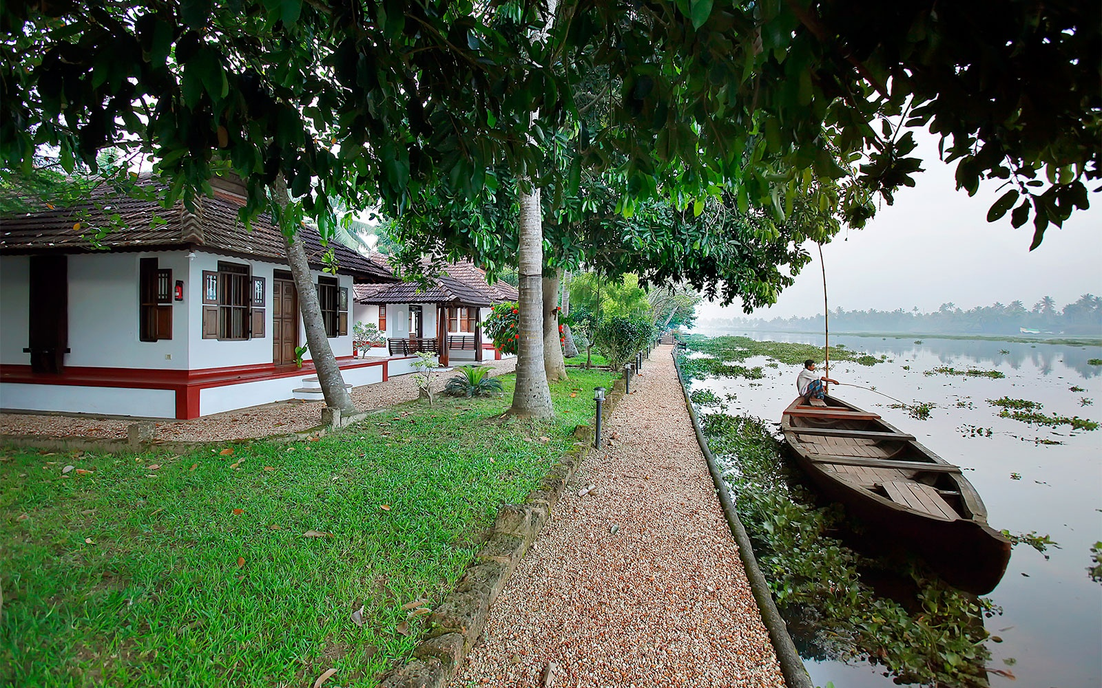 cottages by the river in Philipkutty's Farm, Kerala, India