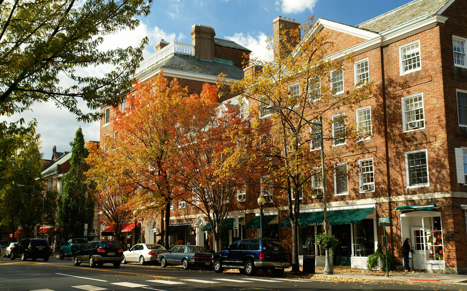 downtown shops in fall time in Princeton, NJ