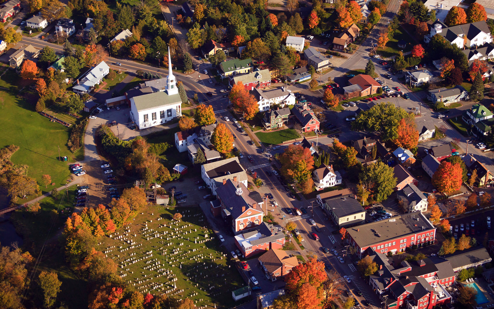 aerial view of fall in Stowe, Vermont