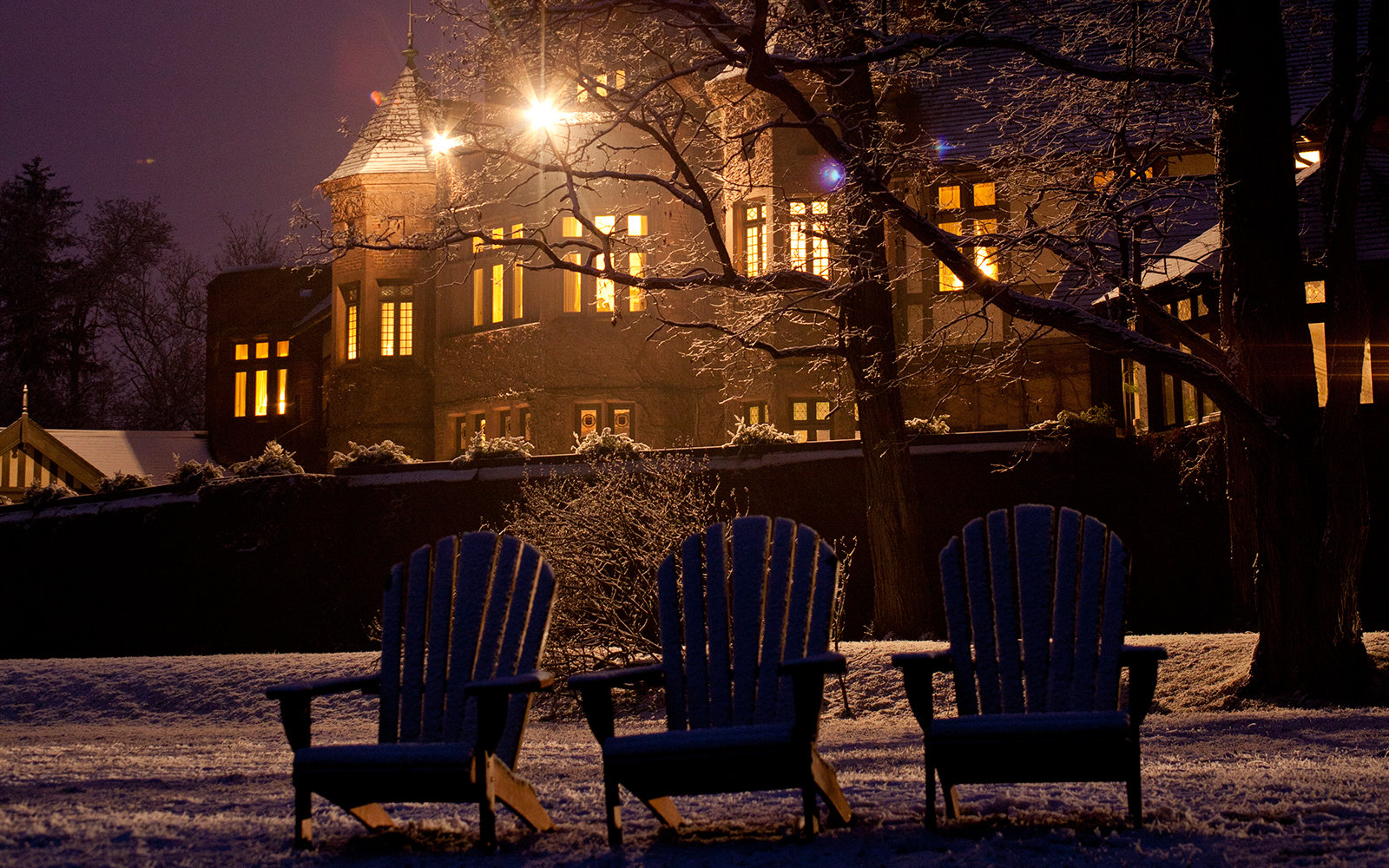 Blantyre Hotel at night in the Berkshires, MA