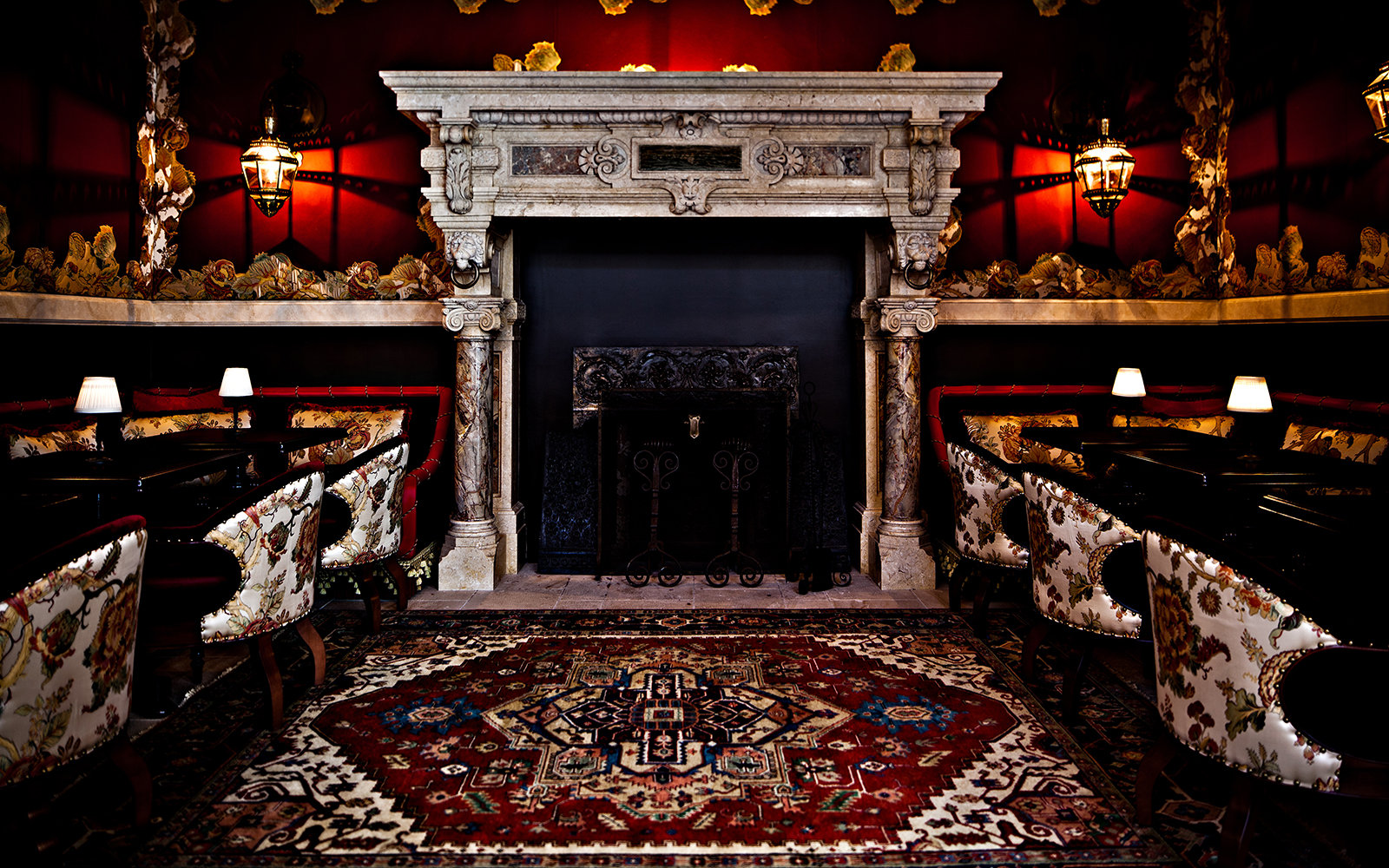 fireplace at NoMad Hotel in New York City, NY