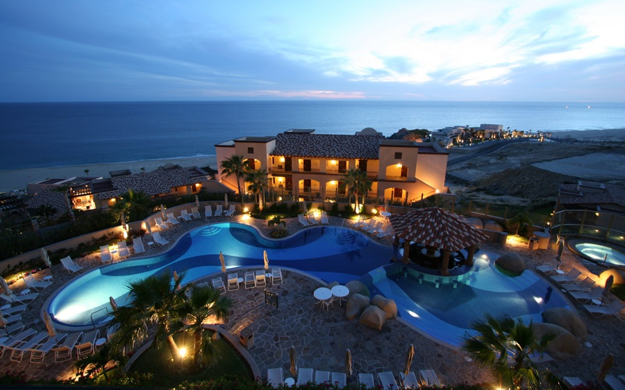 nightime at Pueblo Bonito Sunset Beach Resort, Cabo San Lucas