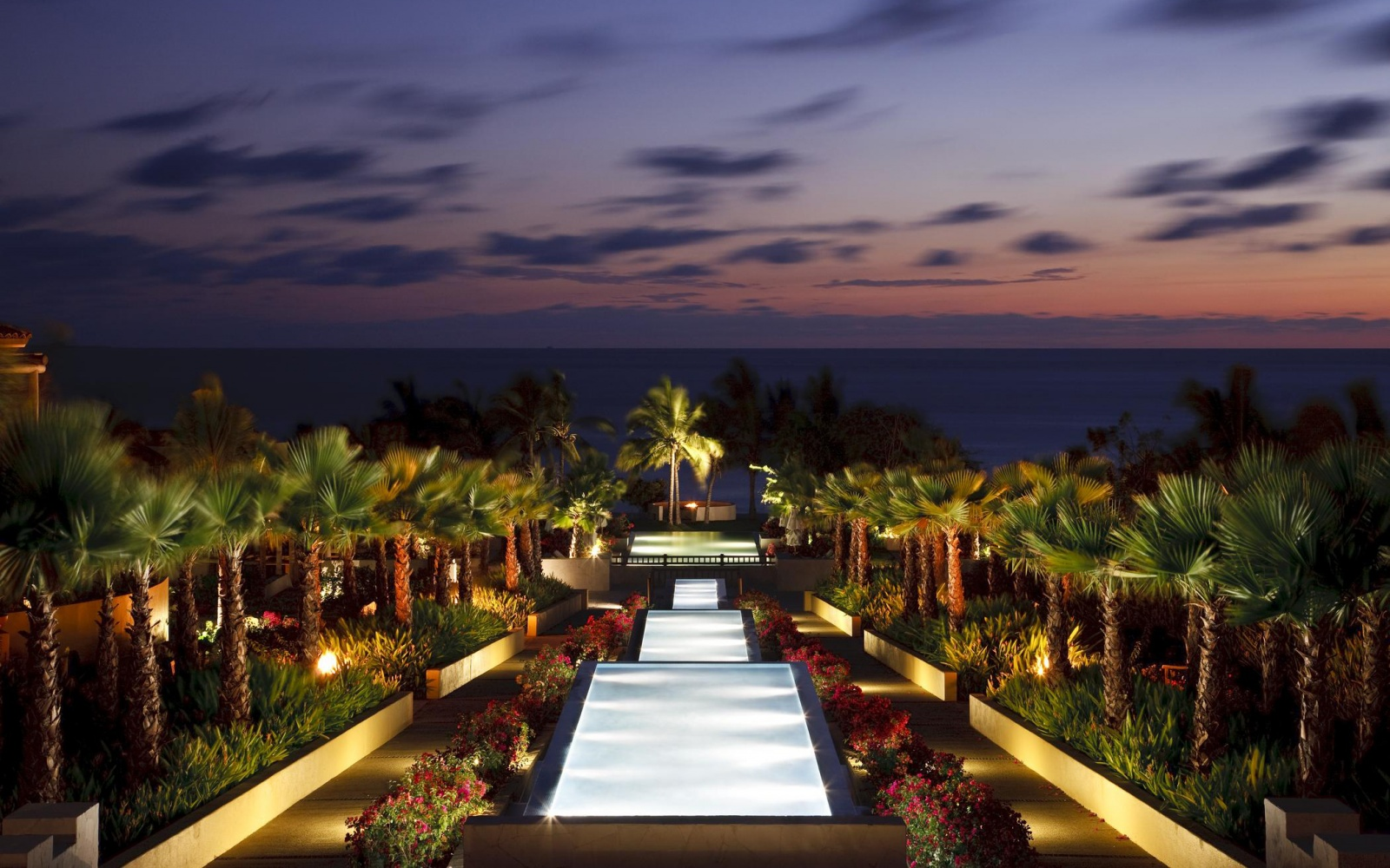 elegant pools at night St. Regis Punta Mita Resort, Mexico