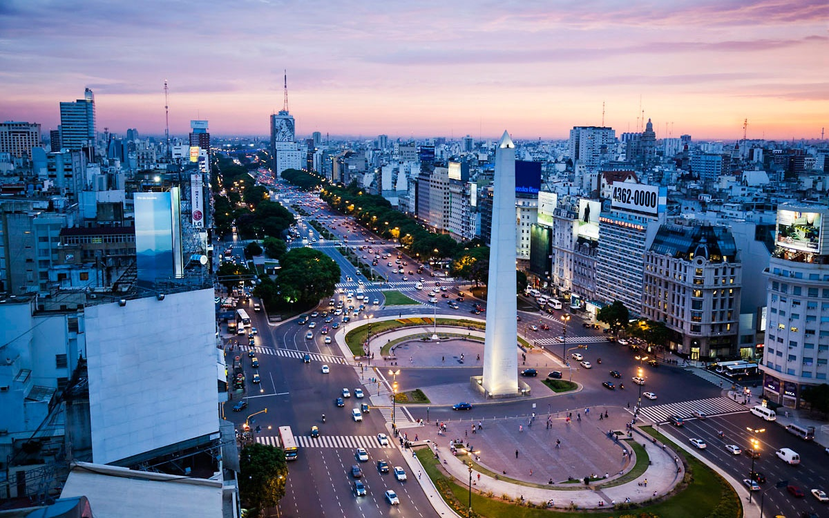 city square at nigth in Buenos Aires, Argentina