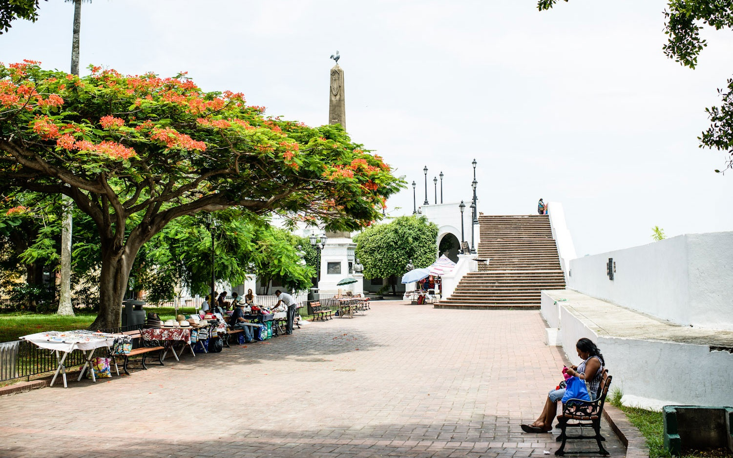 Park square in Casco Antiguo in Panama City, Panama