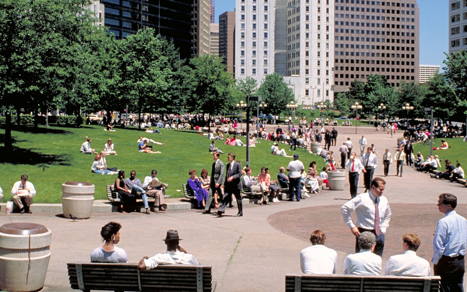 People enjoying a city park in Atlanta, GA