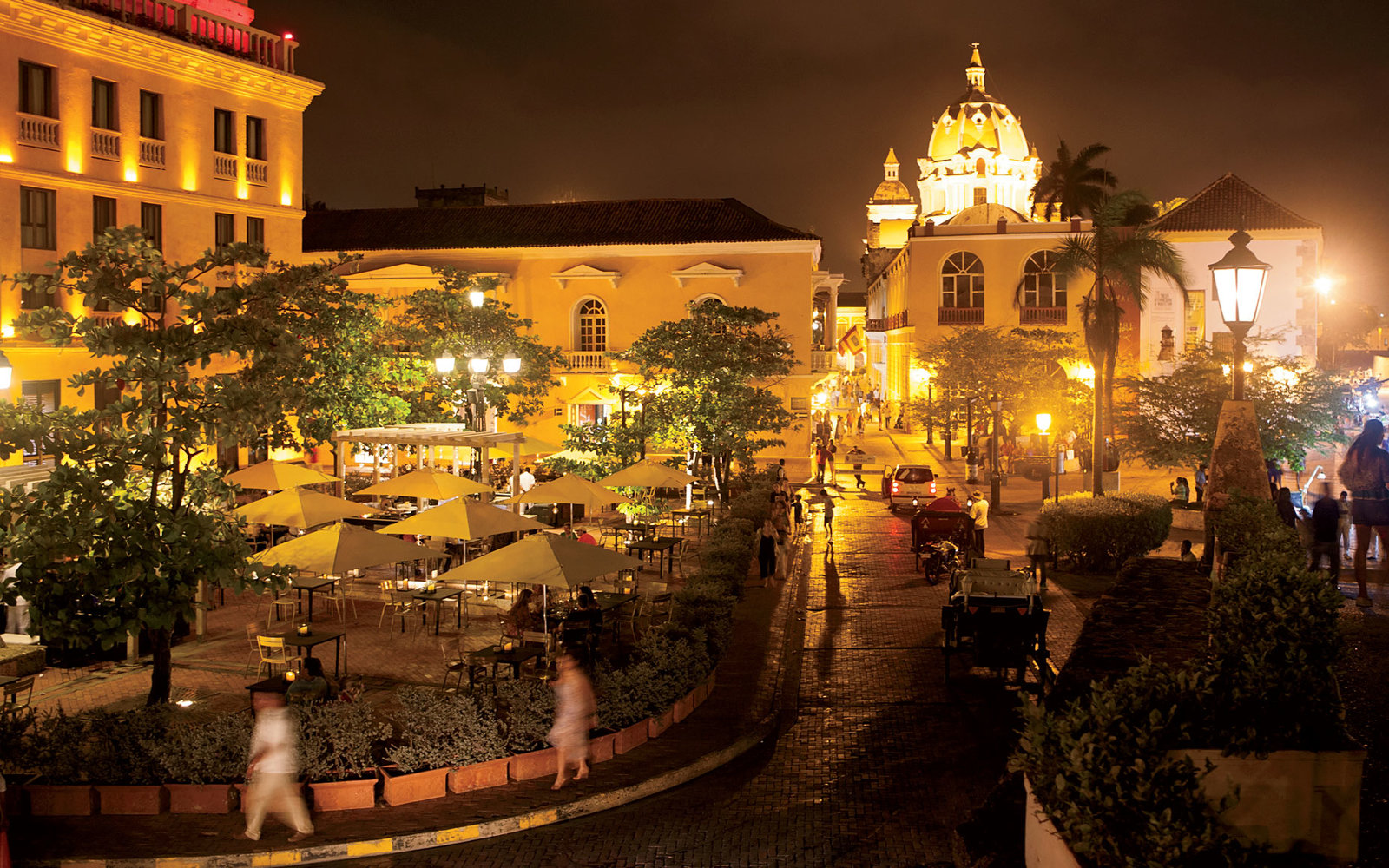 The InterContinental hotel at night in Cartagena, Colombia