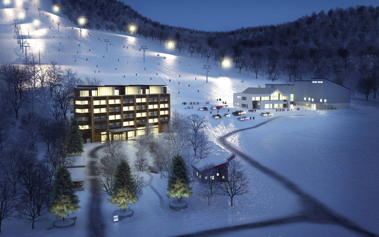 Niseko United Ski Resort at night in Hokkaido, Japan