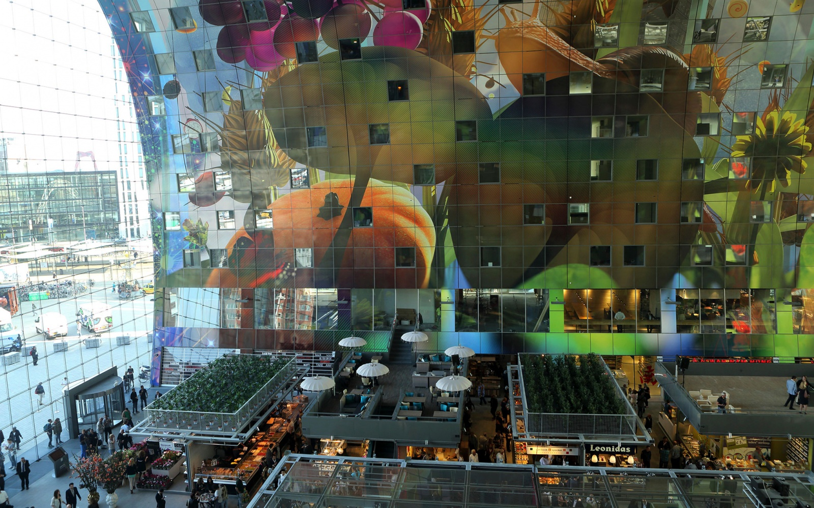 inside Markthal in Rotterdam, Netherlands