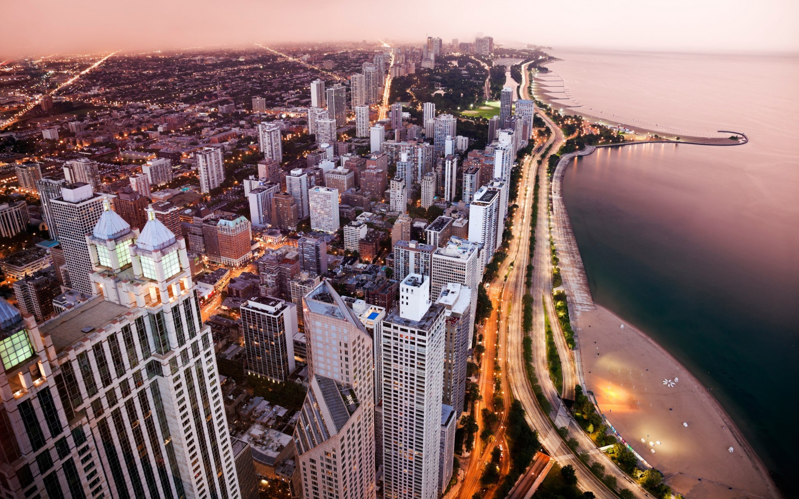 aerial of Chicago at dusk