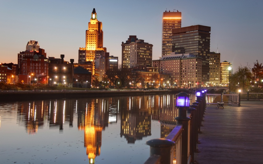 riverside at dusk in downtown Providence, RI