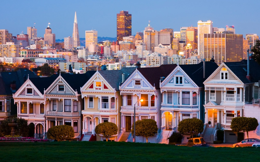 Postcard row at dusk in San Fransico