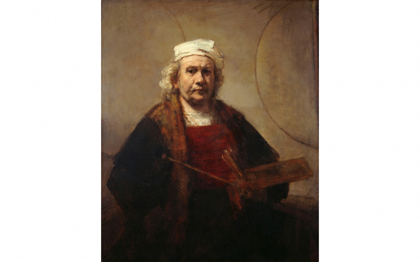 Self portrait with two circles by Rembrandt Harmensz