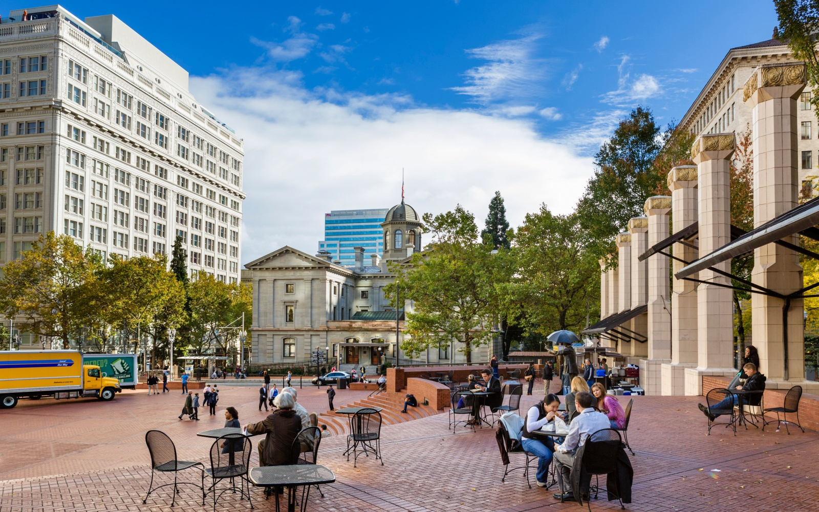 Pioneer Courthouse Square in downtown Portland, Oregon