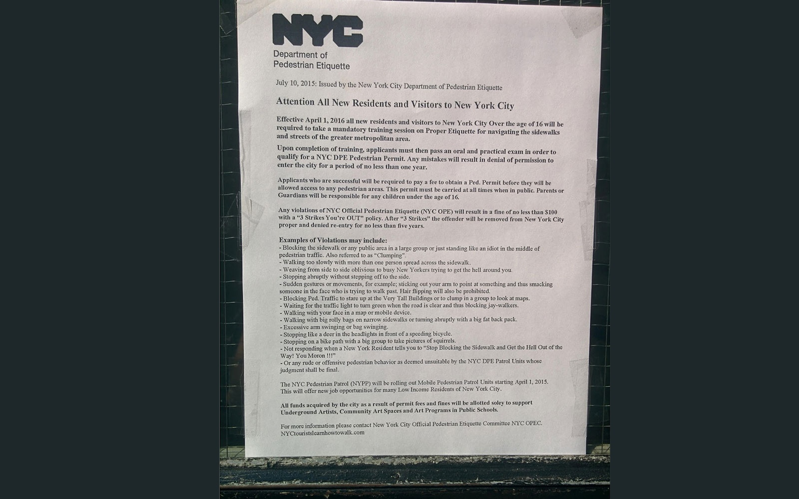 Walking Lessons for Tourists, From NYC's 'Department of Pedestrian Etiquette'