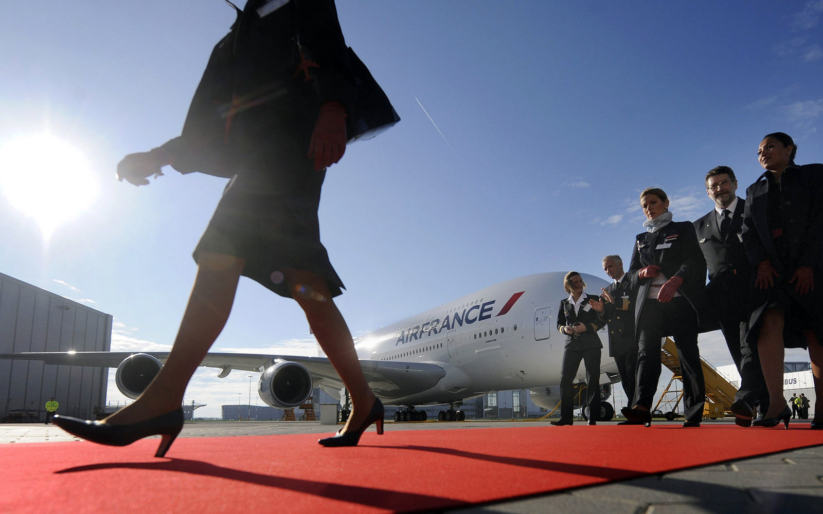 Air France plane with crew members
