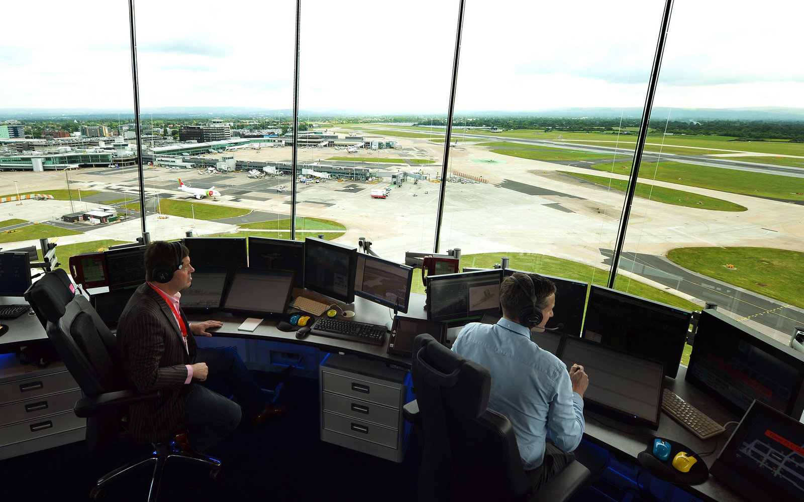 The view from an air traffic control tower.