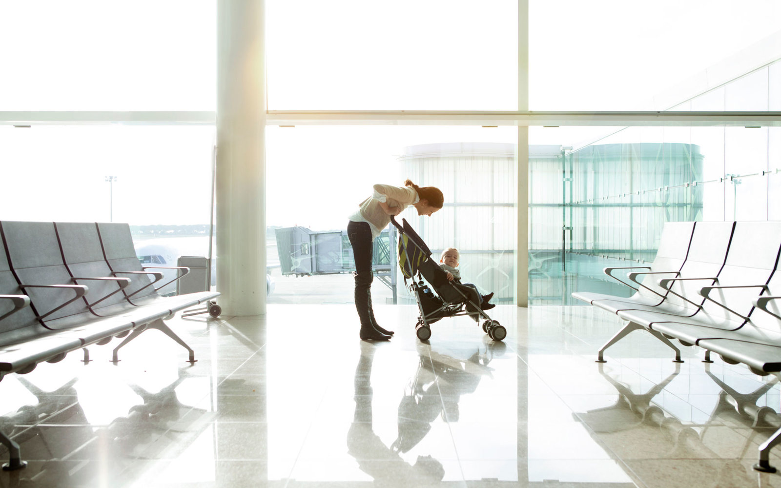Father with baby at the airport