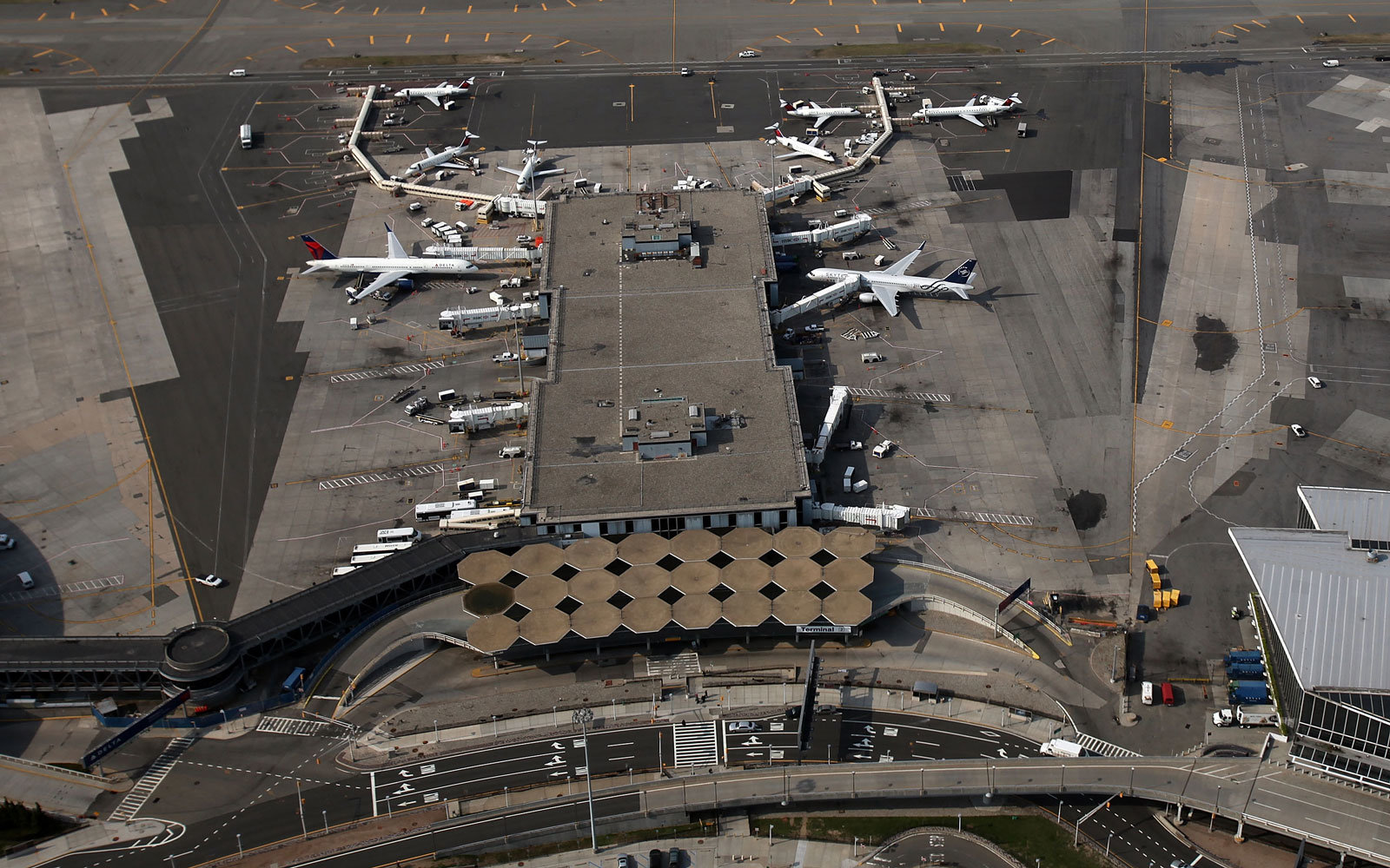 An aerial view of JFK airport in New York City.
