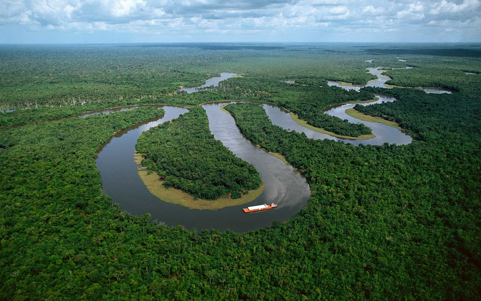 Meanders in the Amazon River near Manaus, Brazil