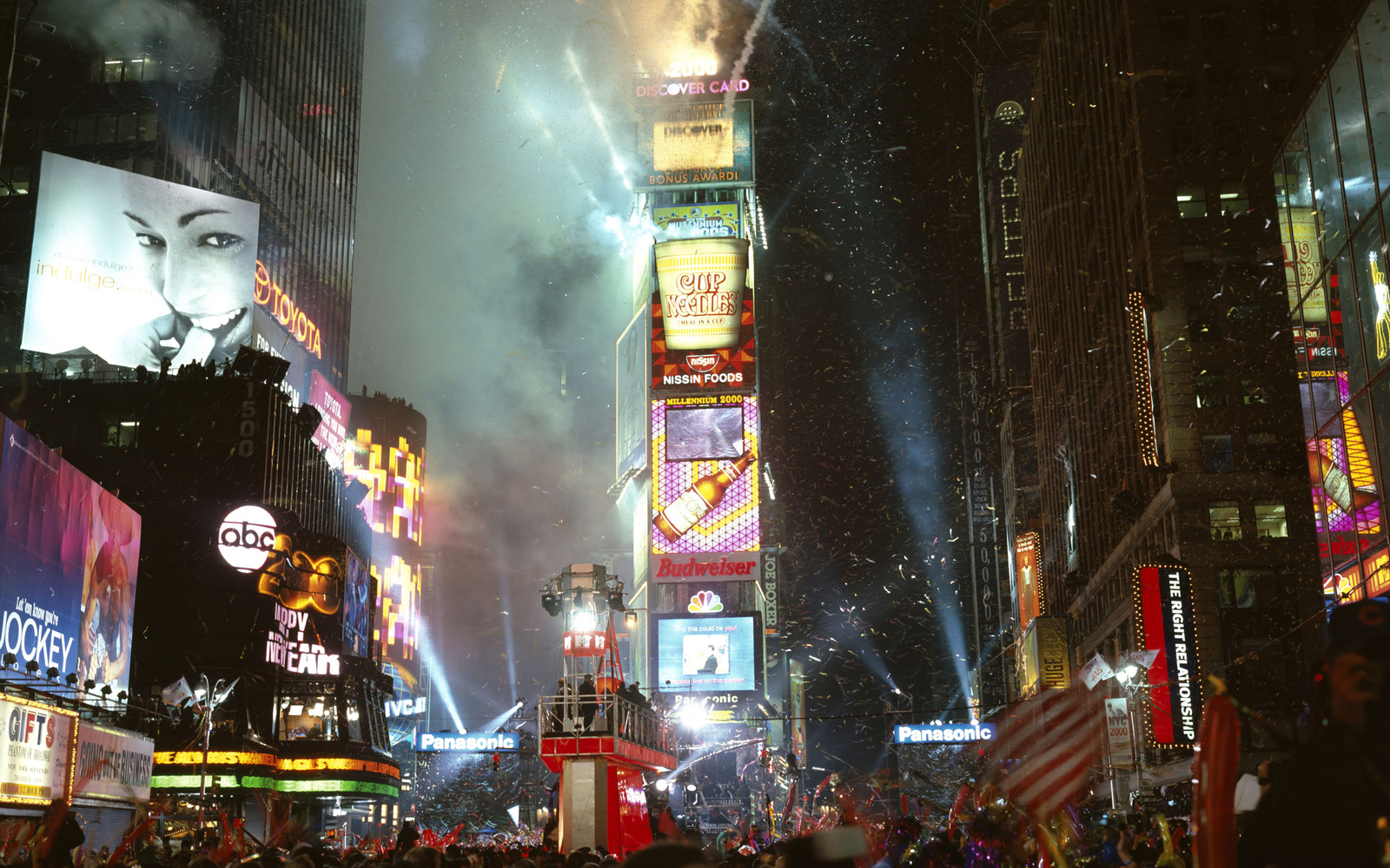 NYE at Times Square at night in New York City, NY