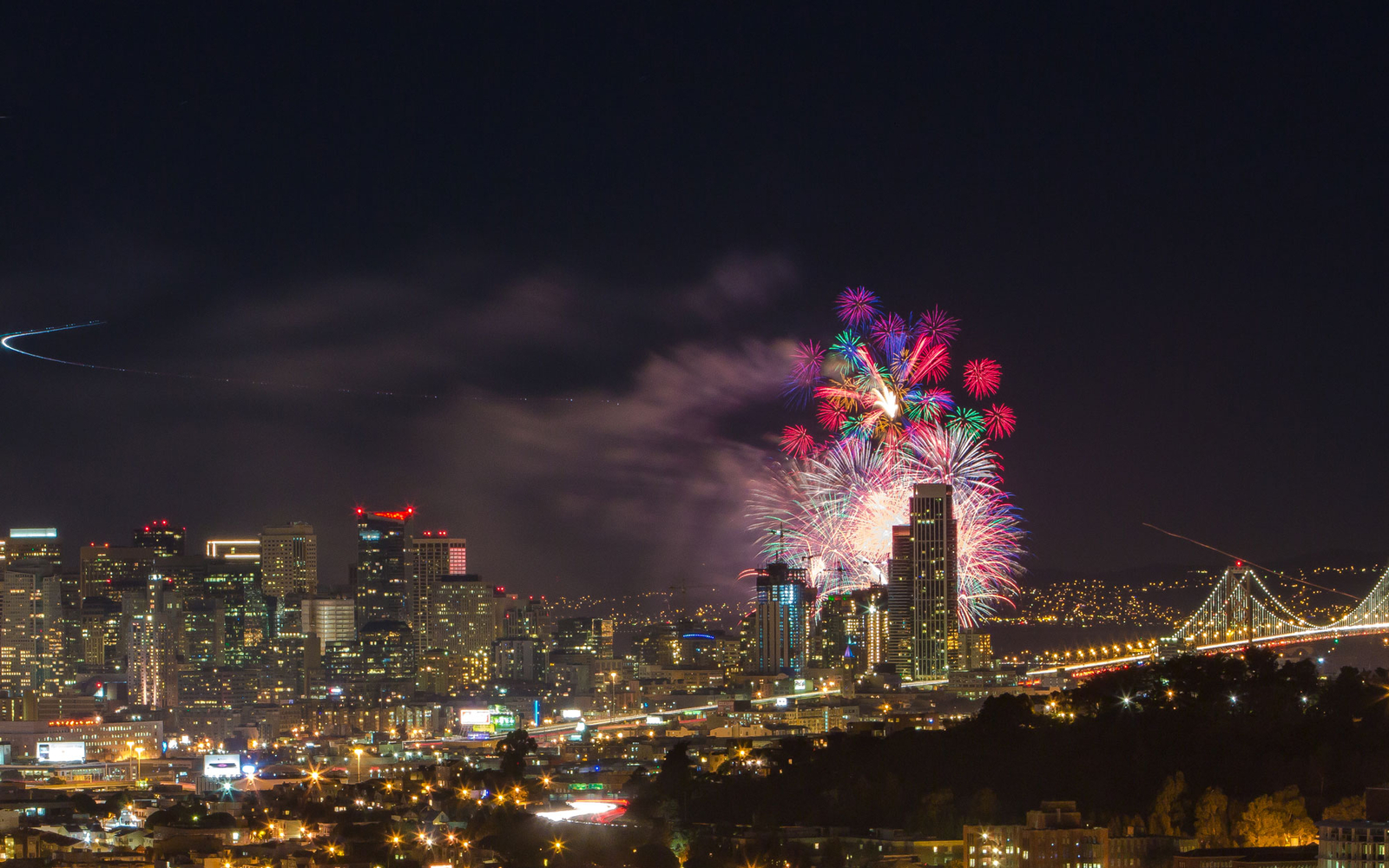 fireworks over San Francisco, California