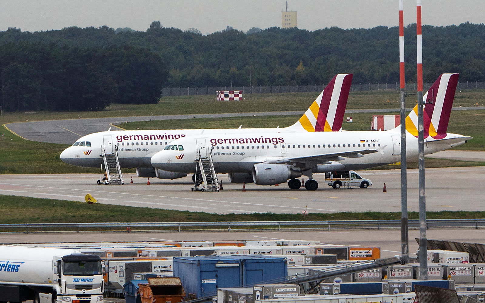 Two Germanwings planes at the airport.