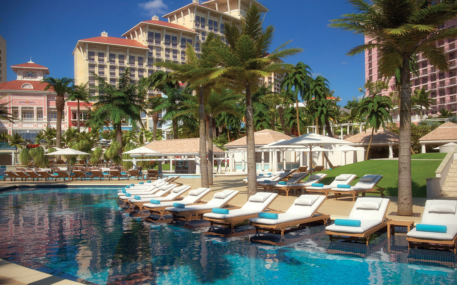 poolside at Baha Mar resort in Bahamas