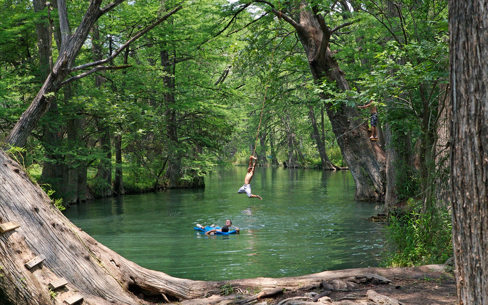 swimming at The Blue Hole in Wimberly, TX