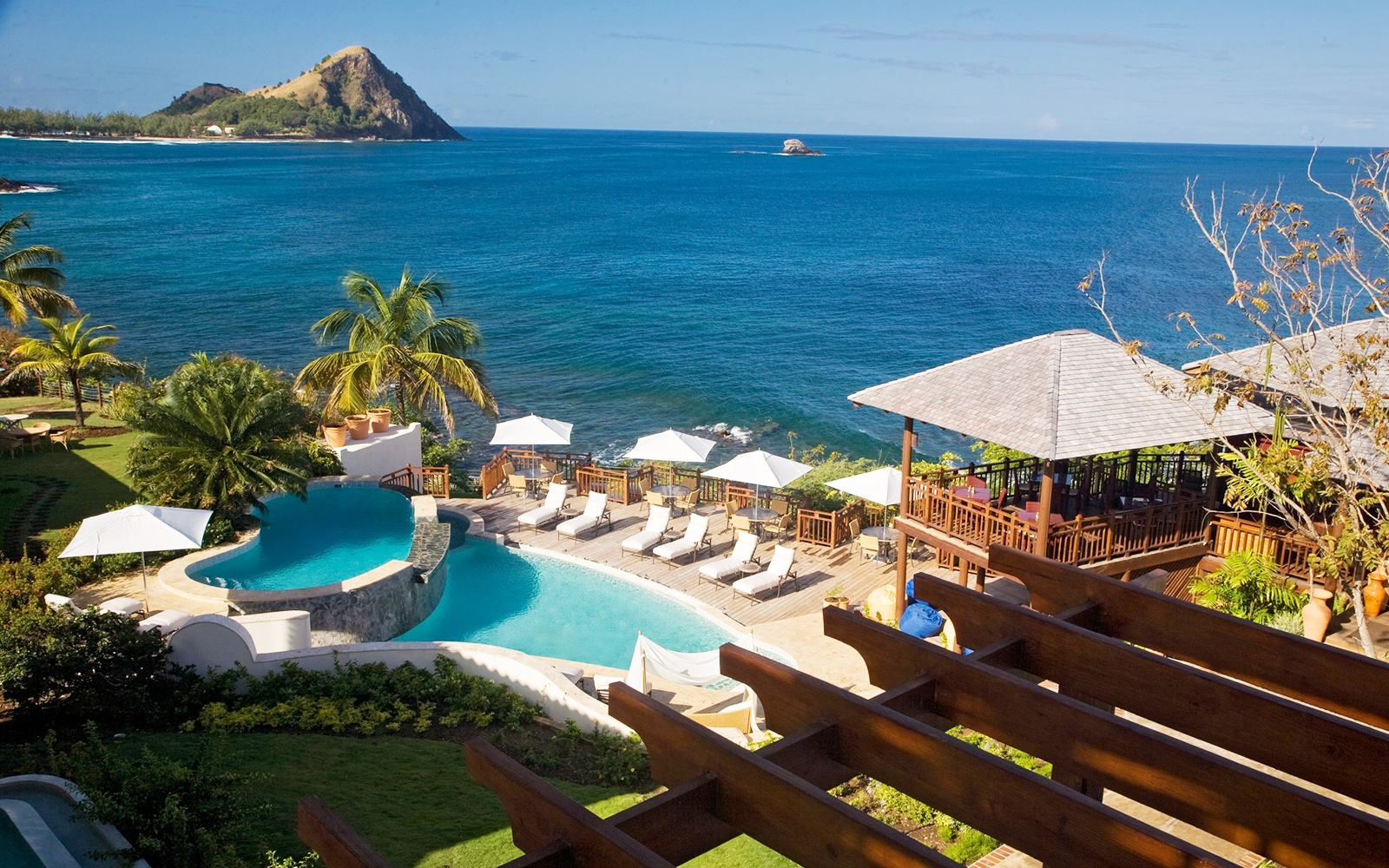 guest pool at Cap Maison resort, St. Lucia
