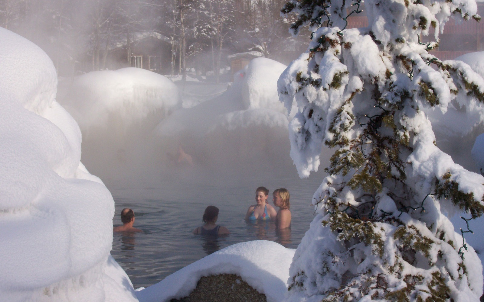 swimming in winter at Chena Hot Springs in Fairbanks, AK