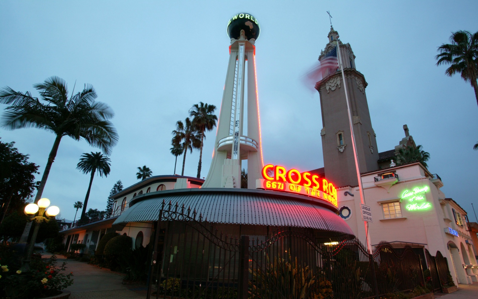 Crossroads of the World landmark building in Hollywood, California