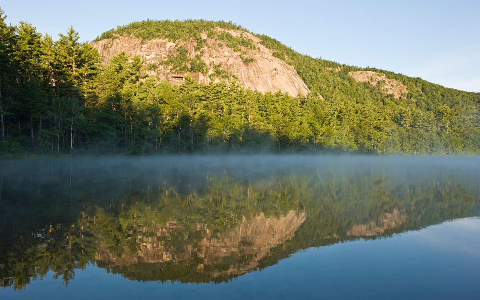 hills reflecting on Echo Lake at Mount Desert Island, ME