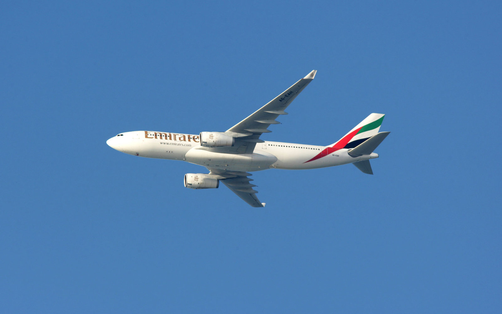 An Emirates plane in flight.