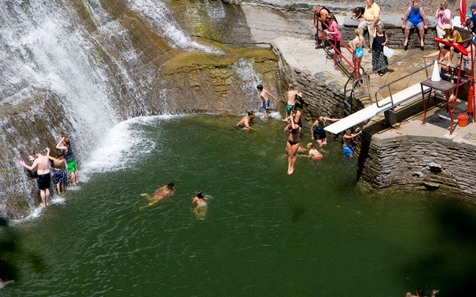 diving board at Enfield Falls swimming hole in Ithaca, NY