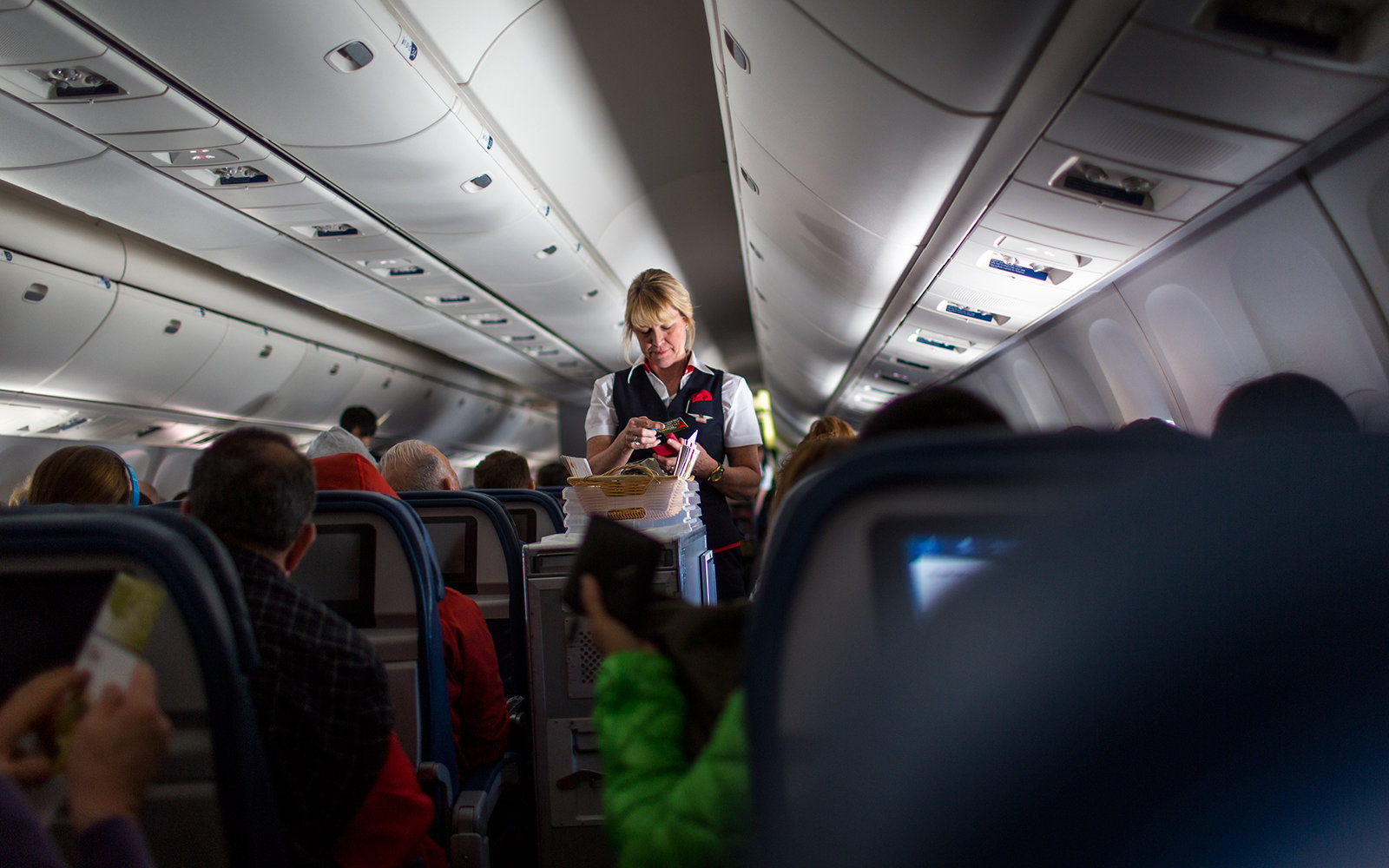 Flight Attendant on airplane