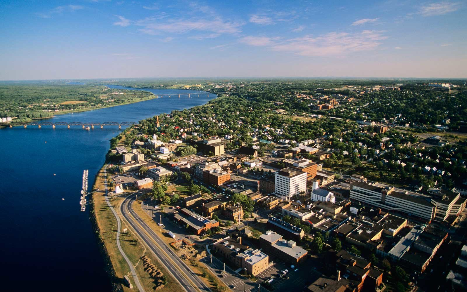 Aerial view of Fredericton, New Brunswick, Canada