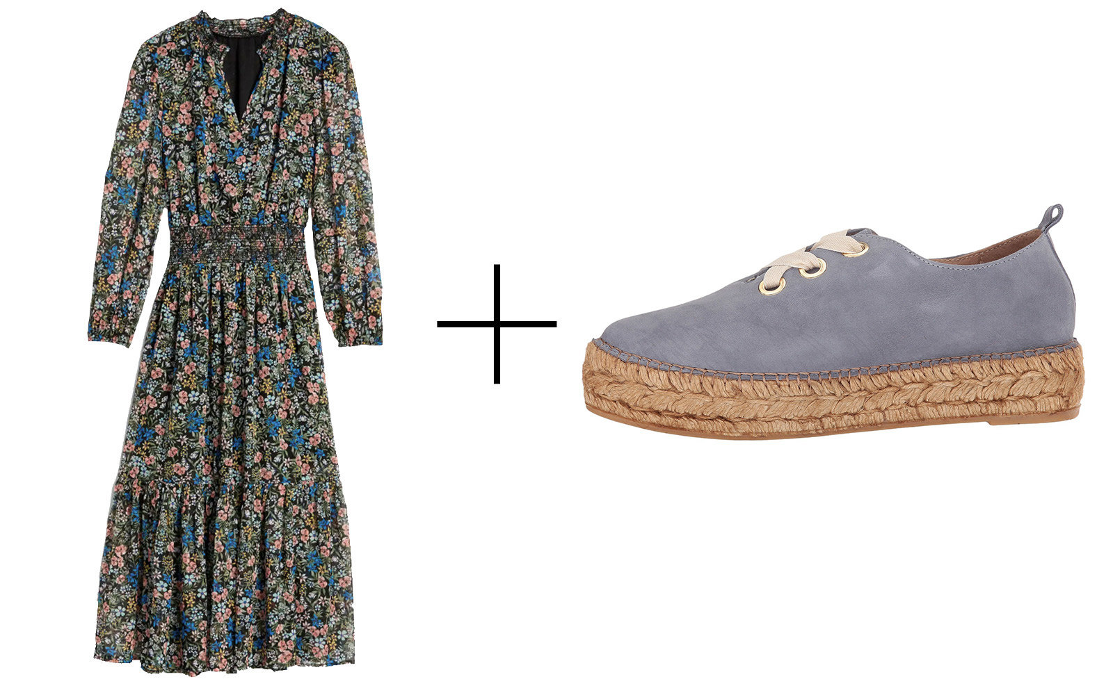 Gap Floral-print Long-sleeve Midi Dress & Eric Michael 'Zoya' Espadrille Sneakers