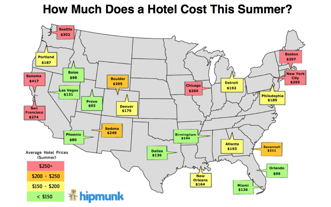 The Cheapest And Most Expensive Cities To Book A Hotel This - Us city map