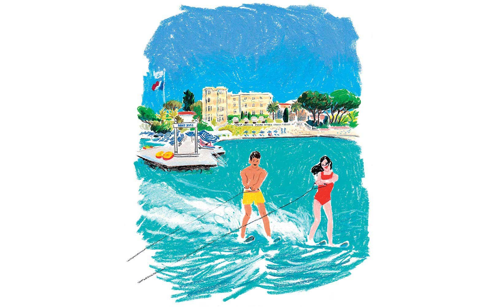 Waterskiing at the Hôtel Belle Rives in Juan-les-pins