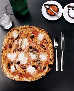 Anchovy, chile, and buffalo mozzarella pizza at Franny's, in Prospect Heights.
