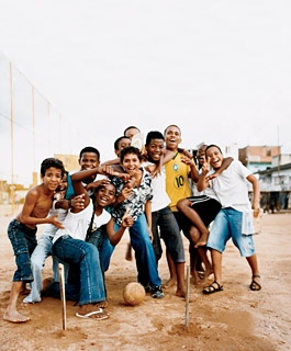 Kids playing soccer in the Pau da Lima favela.