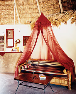 A daybed in Mata Chica's reception area.