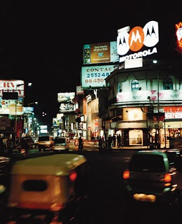 Bangalore's Brigade Road at night.